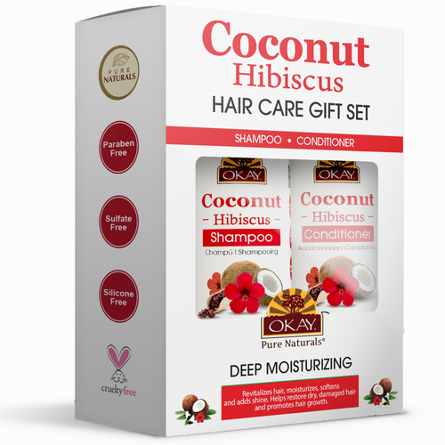 OKAY Coconut Hibiscus Hair Care Gift Set 2PK- Helps Restore, Hydrate, And Strengthen Hair - Sulfate, Silicone, Paraben Free For All Hair Types and Textures  Set of 2 x 12oz