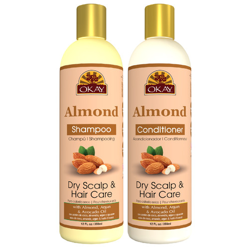OKAY  Shampoo & Conditioner  Almond Oil Hair Care Set Dry Scalp Care | Helps Hydrate, Moisturize & Soften Hair | Sulfate, Silicone, Paraben Free For All Hair Types and Textures | Set of 2 x 12oz