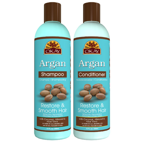 OKAY | Shampoo & Conditioner | Argan Hair Care Set | Restore & Smooth Hair | Helps Restore, Hydrate, And Smooth Hair | Sulfate, Silicone, Paraben Free For All Hair Types and Textures | Set of 2 x 12oz