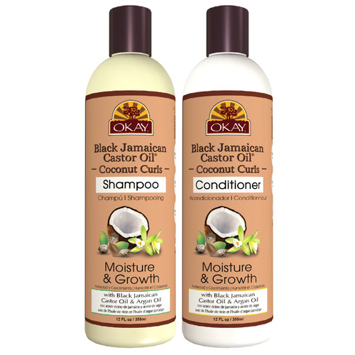 OKAY | Shampoo & Conditioner | Black Jamaican Castor Oil & Coconut Hair Care Set | Moisture & Growth | Helps Regrow Hair | Sulfate, Silicone, Paraben Free For All Hair Types | Set of 2 x 12oz