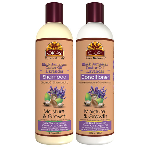 OKAY Pure Naturals | Shampoo & Conditioner | Black Jamaican Castor Oil & Lavender Hair Care Set | Moisture & Growth | Helps Regrow Hair | Sulfate, Silicone, Paraben Free For All Hair Types | Set of 2 x 12oz