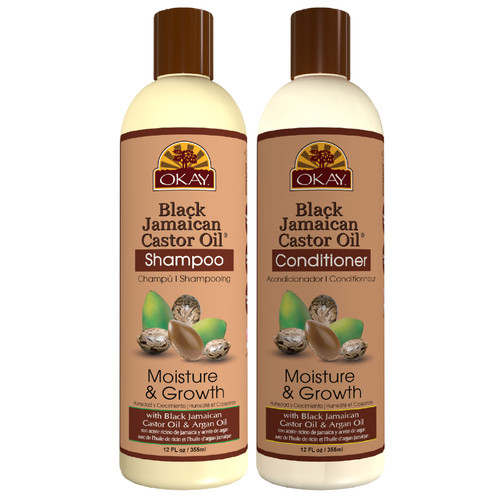 OKAY | Shampoo & Conditioner | Black Jamaican Castor Oil Hair Care Set | Moisture & Growth | Helps Strengthen & Regrow Hair | Sulfate, Silicone, Paraben Free For All Hair Types | Set of 2 x 12oz
