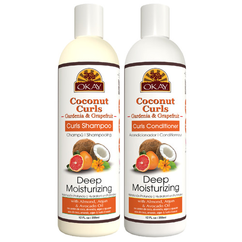 OKAY  Shampoo & Conditioner  Coconut & Gardenia Hair Care Set  Deep Moisturizing | Helps Moisturize, Hydrate, & Define Curls | Sulfate, Silicone, Paraben Free For All Hair Types | Set of 2 x 12oz