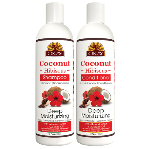 OKAY  Shampoo & Conditioner Coconut & Hibiscus Hair Care Set Deep Moisturizing | Helps Restore, Hydrate & Strengthen Hair | Sulfate, Silicone, Paraben Free For All Hair Types |Set of 2 x 12oz