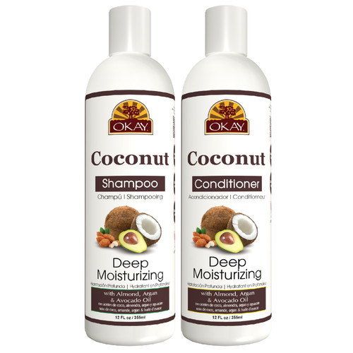 OKAY | Shampoo & Conditioner | Coconut Hair Care Set | Deep Moisturizing | Helps Replenish Moisture & Elasticity For Healthy Hair - Sulfate, Silicone, Paraben Free For All Hair Types | Set of 2 x 12oz