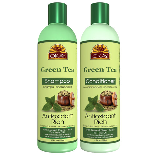 OKAY | Shampoo & Conditioner | Green Tea Hair Care Set | Antioxidant-Rich | Helps Revitalize & Restore Moisture to Hair | Sulfate, Silicone, Paraben Free For All Hair Types | Set of 2 x 12oz