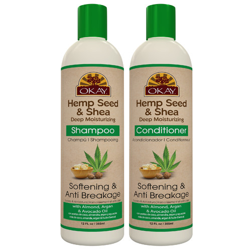 OKAY | Shampoo & Conditioner | Hemp Seed Hair Care Set | Softening & Anti Breakage | Stimulate Growth, Moisturize Hair & Scalp | Sulfate, Silicone, Paraben Free For All Hair Types | Set of 2 x 12oz