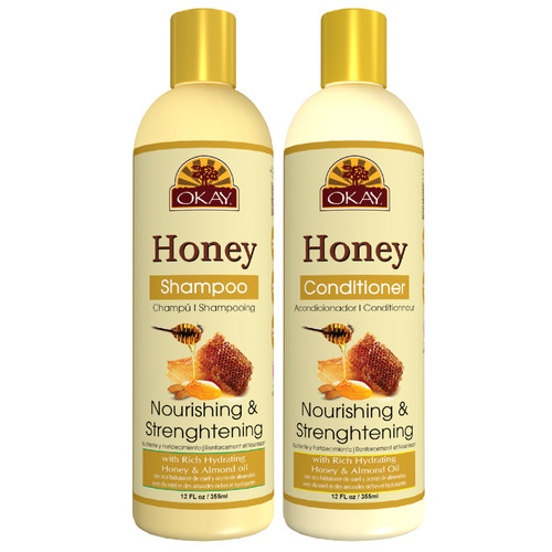 OKAY  Shampoo & Conditioner  Honey Hair Care Set  Nourishing & Strengthening | Helps Refresh, Revitalize & Strengthen Hair | Sulfate, Silicone, Paraben Free For All Hair Types | Set of 2 x 12oz