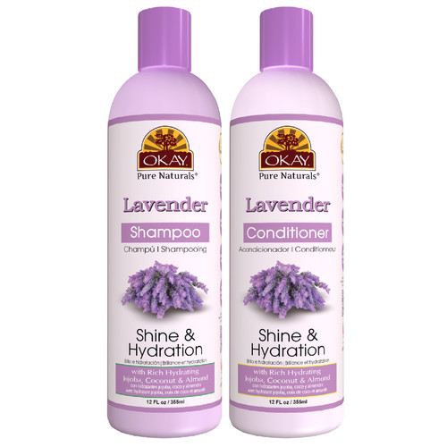OKAY Pure Naturals | Shampoo & Conditioner | Lavender Hair Care Set | Shine & Hydration | Helps Replenish, Nourish, And Hydrate Hair | Sulfate, Silicone, Paraben Free For All Hair Types Set of | 2 x 12oz