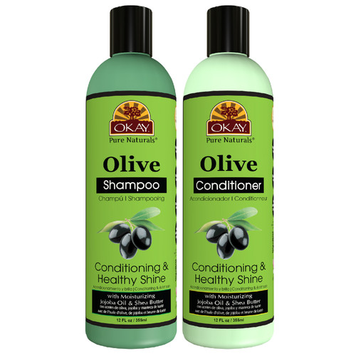 OKAY Pure Naturals | Shampoo & Conditioner | Olive Hair Care Set | Conditioning & Healthy Shine | Helps Nourish, Condition, And Hydrate Hair | Sulfate, Silicone, Paraben Free For All Hair Types | Set of 2 x 12oz