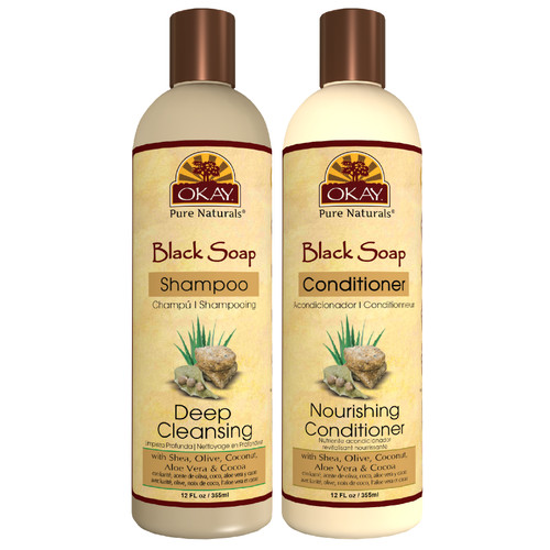 OKAY | Shampoo & Conditioner | Black Soap Hair Care Set | Deep Cleansing | Helps Cleanse, Nourish, And Hydrate Hair | Sulfate, Silicone, Paraben Free For All Hair Types | Set of 2 x 12oz
