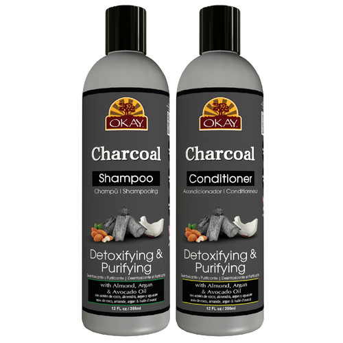 OKAY | Shampoo & Conditioner | Charcoal Hair Care Set | Detoxifying & Purifying | Helps, Detoxify, Purify & Cleanse Hair | Sulfate, Silicone, Paraben Free For All Hair Types | Set of 2 x 12oz