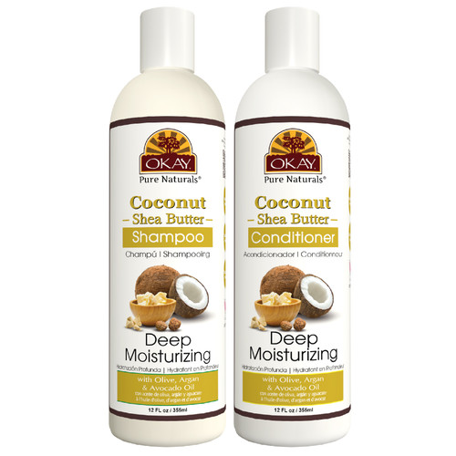 OKAY Pure Naturals | Shampoo & Conditioner | Coconut & Shea Hair Care Set | Deep Moisturizing | Helps Fortify, Strengthen, & Revitalize Hair - Sulfate, Silicone, Paraben Free For All Hair Types | Set of 2 x 12oz