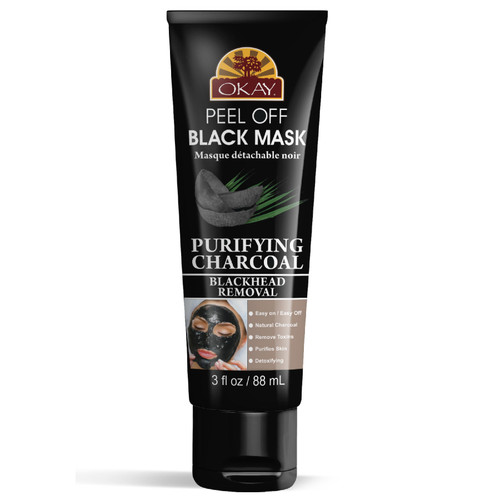 OKAY- Peel Off Black Mask Purifying Charcoal  For Black / White Head Removal -Peels OFF with One Pull-For Healthy Skin -Leaves Skin Soft and Rejuvenated-Sulfate, Silicone, Paraben Free For All Skin Types. Made in USA 3.4oz / 100ml