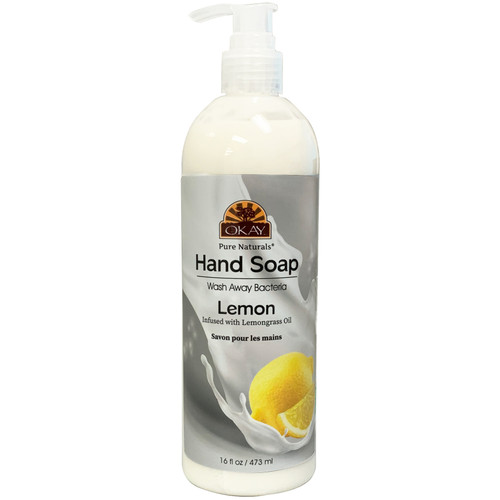 Okay Hand Soap Liquid With Lemon- Infused With lemongrass Oil -Washes Away Bacteria- Made In USA- 16 oz/473 ml