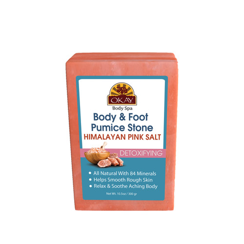 OKAY Body Spa- Himalayan Pink Salt Body & Foot Detoxifying Pumice Stone - For All Skin Types -Made In USA - 8oz 10.5oz / 300gr
