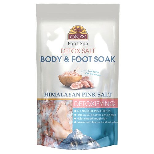 OKAY Foot Spa- Detox Salt Body& Foot Soak Himalayan Pink Salt 8oz/ 226ml
