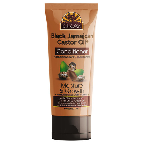 OKAY- Black Jamaican Castor Oil Moisture Growth Conditioner- Helps Moisturize & Regrow Strong Healthy Hair - Sulfate, Silicone, Paraben Free For All Hair Types and Textures - Made in USA. 6oz