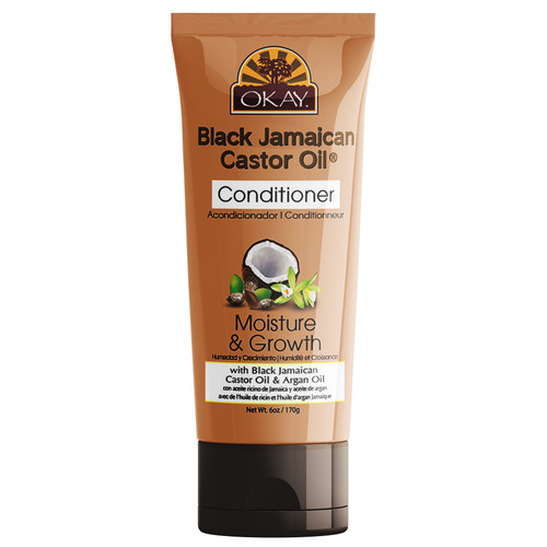 OKAY- Black Jamaican Castor Oil Coconut Curls Conditioner- Helps Condition, Strengthen, And Regrow Hair  - Sulfate, Silicone, Paraben Free For All Hair Types and Textures - Made in USA 6 oz