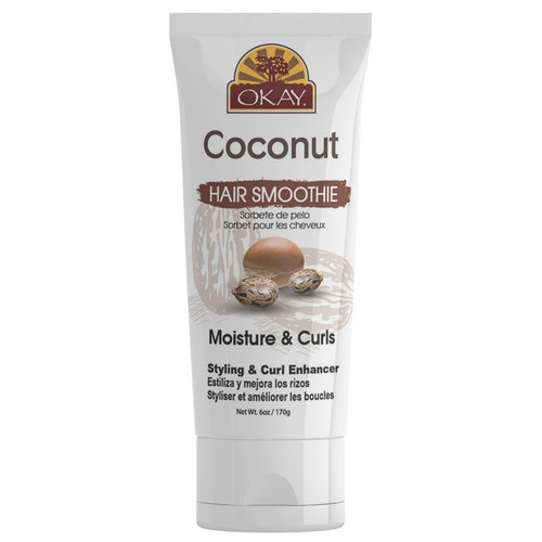 OKAY- Coconut Curls Anti -Frizz Detangling Hair Smoothie - For Styling  & Curl Enhancing-  For Smooth, Glossy, Frizz Free, Strong & Well Defined Curls - Alcohol, Sulfate, Paraben Free - Made in USA 6oz