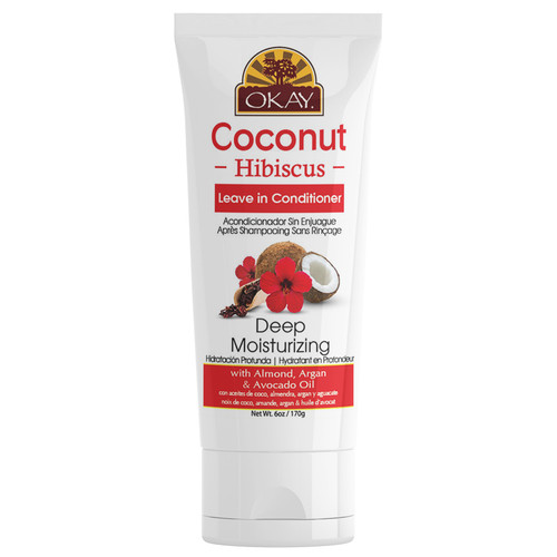 OKAY- Coconut Hibiscus Leave In Conditioner- Helps Restore, Hydrate, And Strengthen Hair - Sulfate, Silicone, Paraben Free For All Hair Types and Textures  - Made in USA 6oz