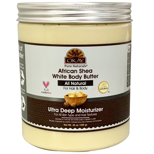 OKAY Pure Naturals African Shea White Body Butter- All Natural- For Hair & Body- Ultra Deep Moisturizer- For All Skin Types & Hair Textures- Restores Moisture To Dry Damaged Skin - Reduces Skin Damage-Heals & Nourishes -Made In USA- 30oz/ 850gr