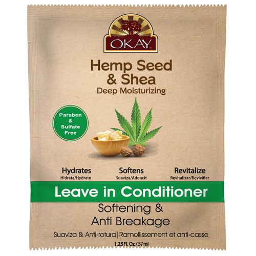 OKAY Hemp Seed & Shea Softening & Anti Breakage Leave In Deep Conditioner - Helps Stimulate Hair Growth, Moisturize Hair & Scalp, Prevents Breakage - Sulfate, Silicone, Paraben Free For All Hair Types and Textures - Made in USA 1.25oz / 37ml