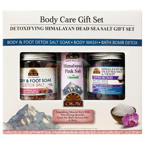 OKAY- 3pc Detoxifying Himalayan Dead Sea Salt Gift Set (Himalayan Salt Bath Bomb 9oz, Himalayan Pink Salt Body Wash 10.5 oz, Himalayan Pink Salt Detox Foot Soak 20 oz)