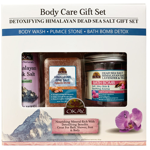 OKAY- 3pc Detoxifying Himalayan Dead Sea Salt Gift Set (Himalayan Pink Salt Body Wash 11.5 oz, Himalayan Pink Salt Pumice Stone 10.5 oz, Himalayan Salt Bath Bomb 9 oz)