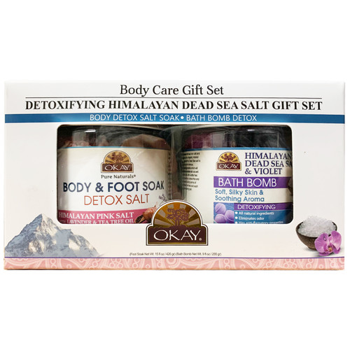 OKAY- 2pc Detoxifying Himalayan Dead Sea Salt Gift Set (Himalayan Salt Bath Bomb 9oz, Himalayan Pink Salt Detox Foot Soak 20 oz)