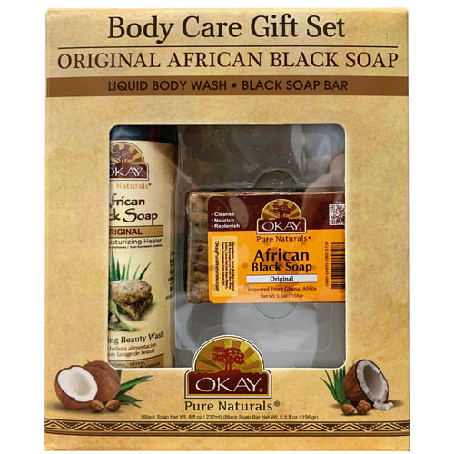 OKAY Pure Naturals- 2pc African Black Soap Gif Set (African Black Soap Beauty Wash 8oz, African Black Soap 5.5oz)