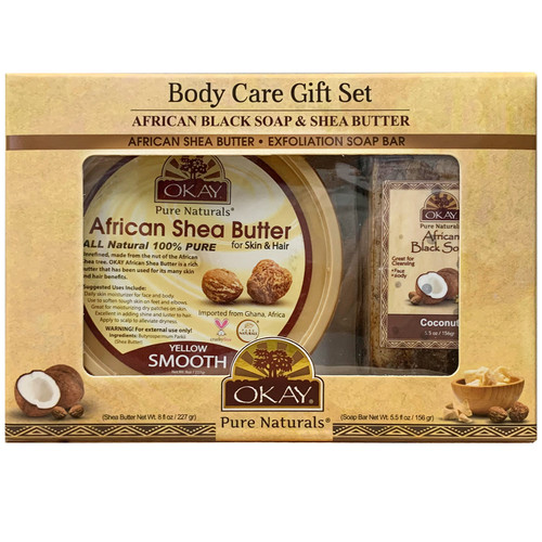 OKAY Pure Naturals- 2pc African Black Sop Gift Set (African Shea Body Butter 7.5oz, African Black Soap 5.5oz)