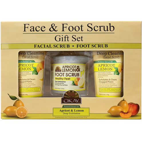 OKAY- 3pc Face & Foot Scrub Gift Set (2 X Deep Cleaning Facial Srub 6oz, 1 X Apricot & Lemon Foot Scrub 4oz)
