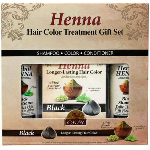 OKAY-  3pc Henna Hair Color Treatment Gift Set (Henna Longer Lasting Hair Color 2oz, Henna Black Shampoo 10.45oz, Henna Black Conditioner 10.45oz)