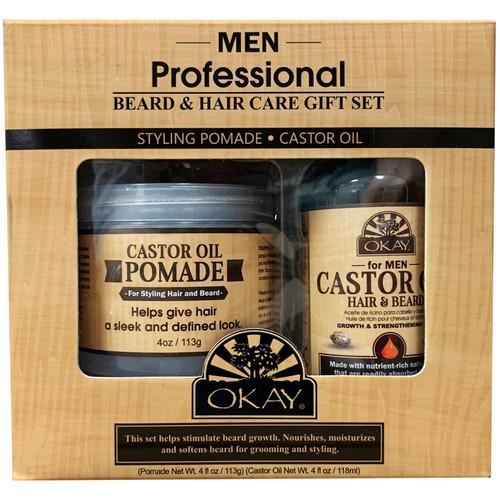 OKAY 2pc Men Beard Care Gift Set (Castor Oil Pomade 4oz & Castor Hair & Beard Oil 4oz)