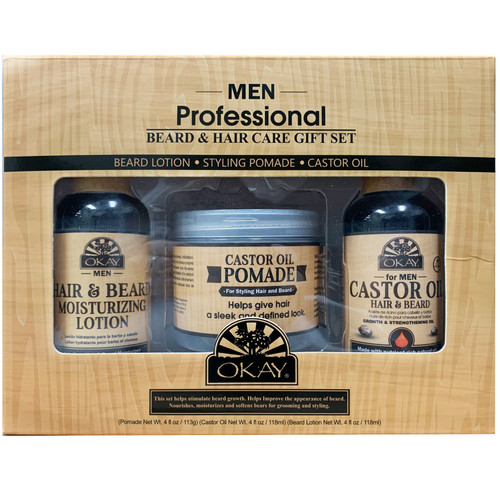 OKAY For Men- 3pc Men Beard Care Gift Set (Castor Oil Pomade 4 oz, Castor Oil Hair & Beard 4oz, Beard Moisturizing Lotion 4oz)