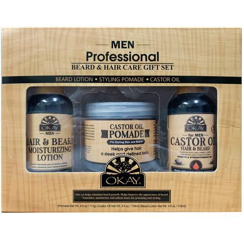 OKAY 3pc Men Beard Care Gift Set (Castor Oil Pomade 4 oz, Castor Oil Hair & Beard 4oz, Beard Moisturizing Lotion 4oz)