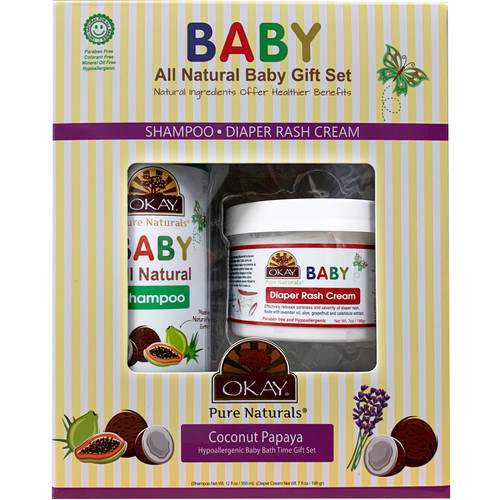 OKAY Pure Naturals- 2pc All-Natural Baby Gift Set (Baby Shampoo 12oz, Baby Diaper Rash Cream 7oz)