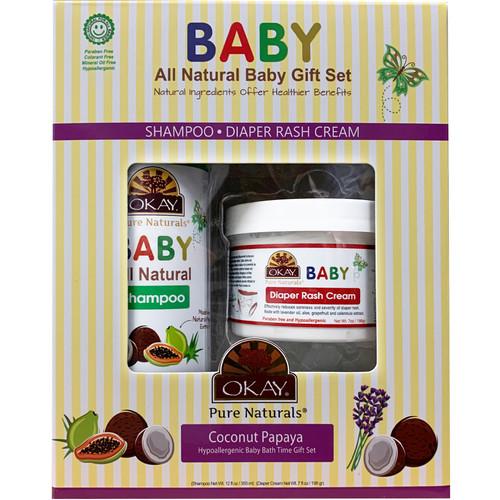 OKAY 2pc All-Natural Baby Gift Set (Baby Shampoo 12oz, Baby Diaper Rash Cream 7oz)