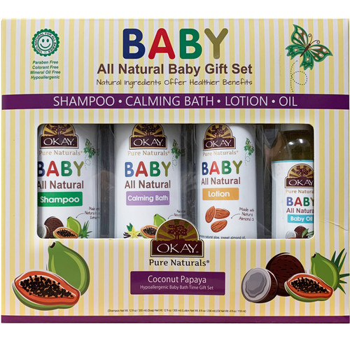OKAY Pure Naturals- 4pc All-Natural Baby Gift Set (Baby Shampoo 12oz, Calming Bath 12oz, Baby Lotion 8oz, Baby Oil 4oz)