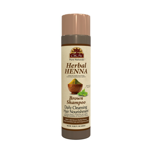 OKAY Pure Naturals- Herbal Henna Brown Shampoo -Formulated To Gently Cleanse Hair - Provides Nourishing Henna Extracts-  Helps Protect &Improve Hair Appearance And Shine - Sulfate, Silicone, Paraben Free For All Hair Types - Made in USA  10.8oz