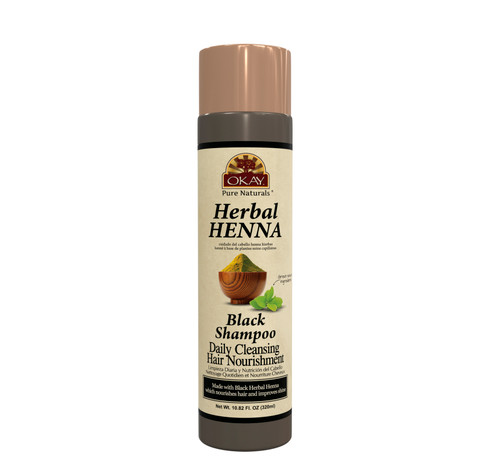 OKAY Pure Naturals- Herbal Henna Black Shampoo -Formulated To Gently Cleanse Hair - Provides Nourishing Henna Extracts-  Helps Protect &Improve Hair Appearance And Shine - Sulfate, Silicone, Paraben Free For All Hair Types- Made in USA  10.8oz