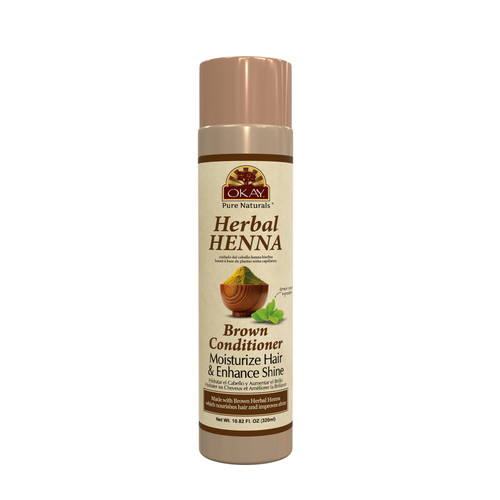 OKAY Pure Naturals- Herbal Henna Brown Conditioner -Formulated To Restore Moisture  - Improves Appearance  & Feel Of Hair- Revitalizes Damaged Hair- Nourishing Henna Extracts- Sulfate, Silicone, Paraben Free For All Hair Types - Made in USA 10.82oz