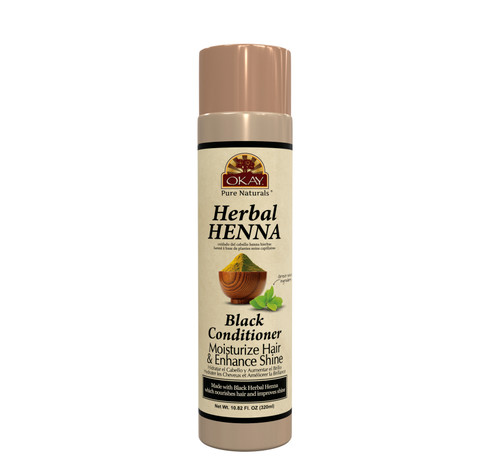 OKAY Pure Naturals- Herbal Henna Black Conditioner -Formulated To Restore Moisture  - Improves Appearance  & Feel Of Hair- Revitalizes Damaged Hair- Nourishing Henna Extracts- Sulfate, Silicone, Paraben Free For All Hair Types - Made in USA 10.82oz