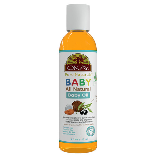 OKAY Pure Naturals  All Natural baby Oil, Contains Natural Olive, Sweet Almond Oil, Coconut, Jojoba & Argan Oils, For Dryness & Dehydration, Paraben Free, Colorant Free, Mineral Oil Free, Hypoallergenic, 100% Natural For All Babies, 4oz/118ml