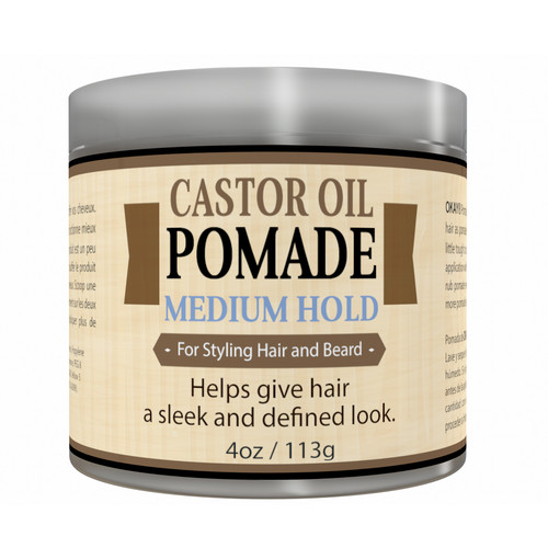OKAY- MEN's Medium Hold Castor Oil Beard and Hair Pomade - For Styling Hair And Beard, All Day Hold, For A Sleek Defined Look-  Silicone, Paraben Free For All Hair Types and Textures - Made in USA 4oz