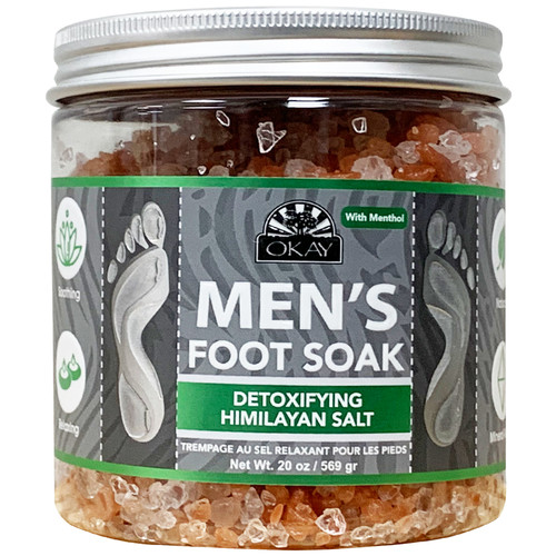 OKAY - Men's Foot Soak- Detoxifying Himalayan Salt  With Menthol. Natural, Mineral Rich, Soothing & Relaxing, For All Skin Types, Made in USA 20 oz