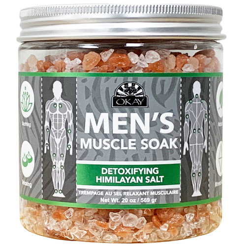 OKAY - Men's Muscle Soak With Detoxifying Himalayan Salt. Natural, Mineral Rich, Soothing & Relaxing, For All Skin Types, Made in USA 20 oz