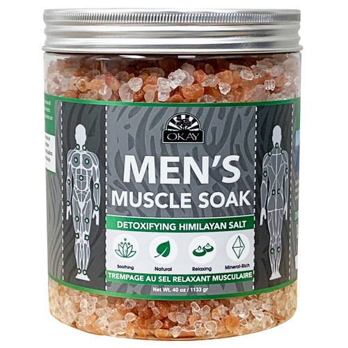 OKAY - Men's Muscle Soak With Detoxifying Himalayan Salt. Natural, Mineral Rich, Soothing & Relaxing, For All Skin Types, Made in USA 40 oz