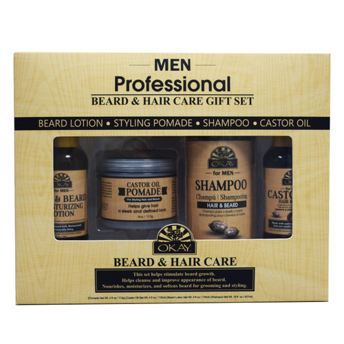 OKAY For Men- 4pc Men Beard Care Gift Set (Castor Oil Shampoo 16oz, Castor Oil Pomade 4 oz, Castor Oil Hair & Beard 4oz, Beard Moisturizing Lotion 4oz)